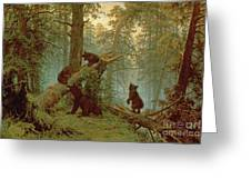 Morning In A Pine Forest Greeting Card by Ivan Ivanovich Shishkin