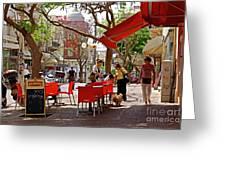 Morning On A Street In Tel Aviv Greeting Card by Zalman Latzkovich