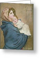 Mother And Child Greeting Card by English School