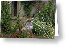 Mother And Child In The Flowers Greeting Card by Camille Pissarro