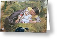 Mother And Child With A Poppy Greeting Card by Frederick Richard Pickersgil