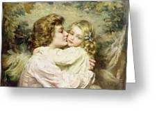 Mother And Daughter  Greeting Card by Thomas Benjamin Kennington