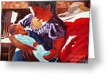 Mother And Newborn Child Greeting Card by Kathy Braud