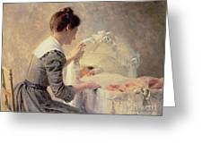 Motherhood Greeting Card by Louis Emile Adan