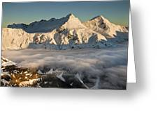 Mount Pollux And Mount Castor At Dawn Greeting Card by Colin Monteath