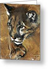 Mountain Lion - Guardian Of The North Greeting Card by J W Baker