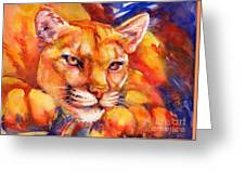 Mountain Lion Red-yellow-blue Greeting Card by Summer Celeste