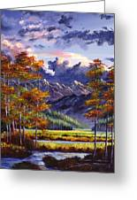 Mountain River Valley Greeting Card by David Lloyd Glover