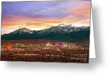Mountain Twilight Of Reno Nevada Greeting Card by Vance Fox