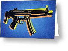 Mp5 Sub Machine Gun On Blue Greeting Card by Michael Tompsett