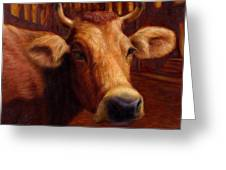 Mrs. O'leary's Cow Greeting Card by James W Johnson
