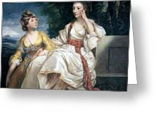 Mrs Thrale And Her Daughter Hester Greeting Card by Sir Joshua Reynolds