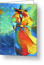 Multi Color Cowboy Greeting Card by Lance Headlee