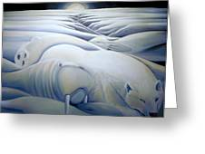 Mural  Winters Embracing Crevice Greeting Card by Nancy Griswold