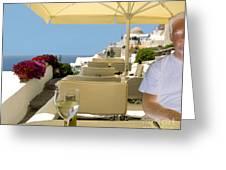 Mykonos Restaurant Greeting Card by Madeline Ellis