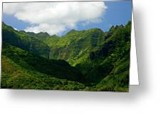 Na Pali Green Greeting Card by Mike  Dawson