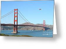NASA Space Shuttle's Final Hurrah Over The San Francisco Golden Gate Bridge Greeting Card by Wingsdomain Art and Photography