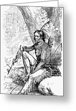 Native American With Pipe Greeting Card by Granger