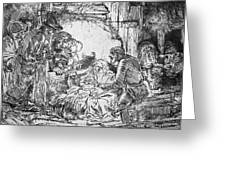 Nativity Greeting Card by Rembrandt