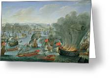 Naval Battle with the Spanish Fleet Greeting Card by Pierre Puget