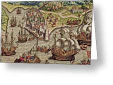 Naval Combat Greeting Card by Theodore de Bry