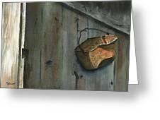 Neighbor Dons Rusted Kettle Greeting Card by Marsha Elliott