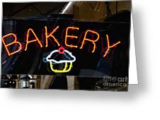 Neon Bakery Sign Greeting Card by Inti St. Clair