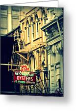 Neon Oysters Sign Greeting Card by Perry Webster
