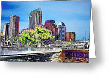 Neon Tampa Greeting Card by Carol Groenen