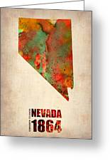 Nevada Watercolor Map Greeting Card by Naxart Studio