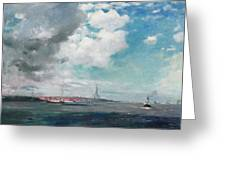 New Brighton from the Mersey Greeting Card by JH Hay