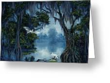 New Orleans City Park Blue Bayou Greeting Card by Saundra Bolen Samuel