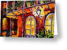 New Orleans Original Oil Painting French Quarter Glow Greeting Card by Beata Sasik