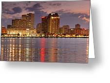 New Orleans Skyline at DUSK Greeting Card by Jon Holiday