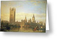 New Palace Of Westminster From The River Thames Greeting Card by David Roberts