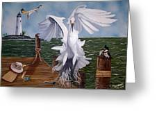 New Point Egret Greeting Card by Debbie LaFrance