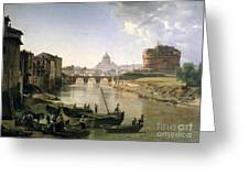 New Rome With The Castel Sant Angelo Greeting Card by Silvestr Fedosievich Shchedrin