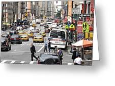 New York City Street Scene Greeting Card by Darren Martin