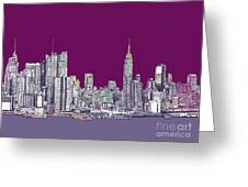 New York In Purple Greeting Card by Lee-Ann Adendorff