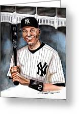 New York Yankee Derek Jeter Greeting Card by Dave Olsen