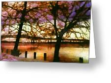Newburgh Beacon Bridge Purple skies Greeting Card by Janine Riley