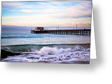 Newport Beach Ca Pier At Sunrise Greeting Card by Paul Velgos