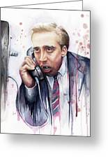 Nicolas Cage A Vampire's Kiss Watercolor Art Greeting Card by Olga Shvartsur