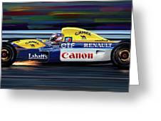Nigel Mansell Williams Fw14b Greeting Card by David Kyte