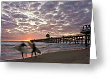 Night Surfing Greeting Card by Gary Zuercher