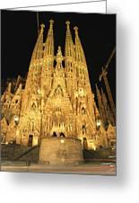 Night View Of Antoni Gaudis La Sagrada Greeting Card by Richard Nowitz