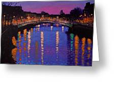 Nighttown Ha Penny Bridge Dublin Greeting Card by John  Nolan