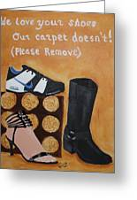 No Shoes Greeting Card by Kimber  Butler