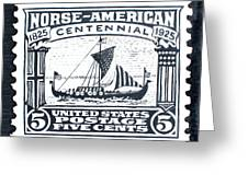 Norse-american Centennial Stamp Greeting Card by James Neill