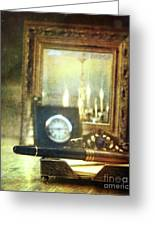 Nostalgic Still Life Of Writing Pen With Clock In Background Greeting Card by Sandra Cunningham